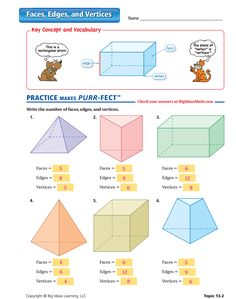 Faces, Edges, and Vertices Worksheet - ANSWERS