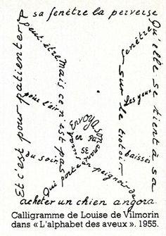 """100 Idées n° 50 - décembre 1977 - Article """"l'écriture aux sources de l'homme"""" - Réalisation Paméla Dieu - Calligramme de Louise de Vilmorin """"l'alphabet des aveux"""" 1955."""