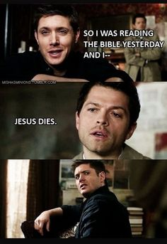 Cas is so serious and then Deans face XD I can't