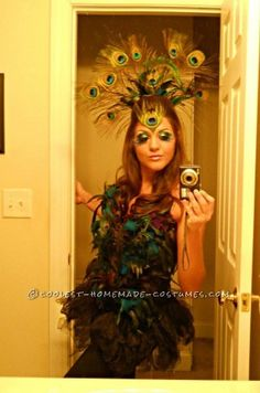 I am in love with everything peacock, so this sexy Peacock costume was a must for me to conquer.  I ordered a plain black corset off of eBay for $15...