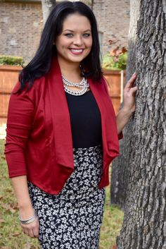Love this outfit! Wine Blazer and Adelaide Pencil Skirt – The ZigZag Stripe. Use coupon code ZZS72 to save 10% on every order, and shipping is free! zigzagstripe.com