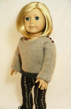 "Felted wool up-cycled sweater for American Girl 18"" Doll. I love re-purposing sweaters. #sewing inspiration."