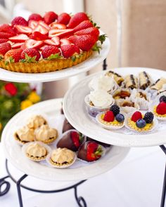 A summery dessert bar of tarts and chocolate-dipped strawberries for a afternoon reception