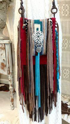 Handmade Suede Leather Fringe Bag Hippie Western Boho Hobo Serape Purse tmyers #Handmadetmyers #MessengerCrossBody