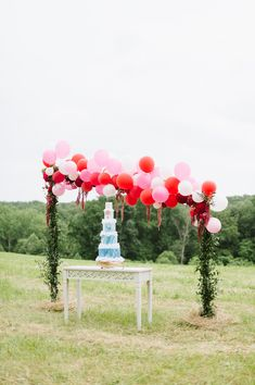 wedding cake table display - photo by Natalie Franke http://ruffledblog.com/vintage-hot-air-balloon-wedding