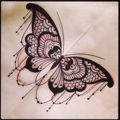 Lace butterfly tattoo - by Dom Holmes, The Family Business Tattoo