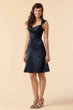 Pretty A-line empire waist satin dress for bridesmaid,$97.80