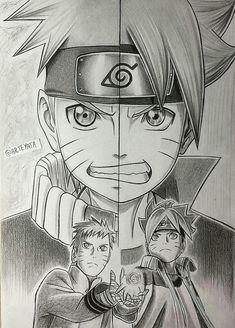 Naruto and Boruto - Fan art Naruto Vs Sasuke, Anime Naruto, Fan Art Naruto, Manga Anime, Fan Art Anime, Anime Ninja, Naruto Drawings, Naruto Sketch, Anime Sketch