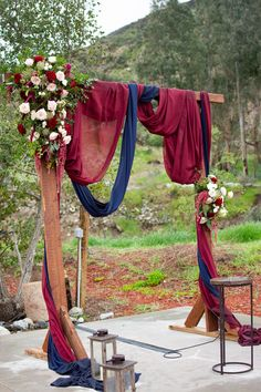 Romantic burgundy and navy arch floral decor Burgundy Decor, Navy And Burgundy Wedding, Maroon Wedding, Fall Wedding Arches, Fall Wedding Decorations, Cute Wedding Ideas, Wedding Wishes, Wedding Colors, Rustic Wedding