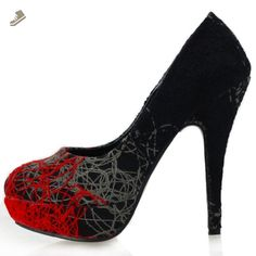 Show Story Womens Red Grey Black Abstract Lines Print Stiletto Platform High Heel Pumps,LF30435RD40,9US,Red - Show story pumps for women (*Amazon Partner-Link)