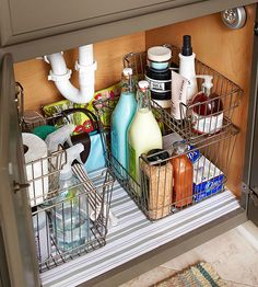 Under a sink can quickly turn into a storage nightmare. Slide-out baskets that take advantage of the awkward space as well as the available height can provide oft-used storage for extra toiletries.