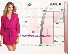 Analise de forma pormenorizada a imagem do robe feminino manga longa. Desta forma assegura que o resultado final corresponde ás suas expectativas. Sewing Patterns Free, Clothing Patterns, Dress Patterns, Sewing Clothes, Diy Clothes, Diy Fashion, Fashion Design, Couture Sewing, Diy Dress