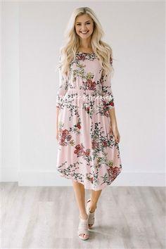 Light Pink Spring Floral Pocket Modest Dress Bridesmaids Dress, Church Dresses, dresses for church, modest bridesmaids dresses, trendy modest dresses, modest womens clothing, affordable boutique dresses, cute modest dresses, mikarose, best modest boutique