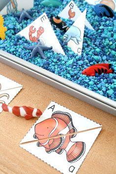 Ocean Theme ABC Sensory Bin