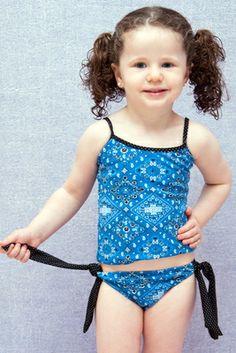 Bandana Toddler/Girl Tankini - Lemons & Limes Kids Swimwear #girlstankini #toddlertankini #girlswimwear #bandana #bandanatankini #girlsbluetankini