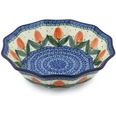 Polmedia Polish Pottery 9inch Stoneware Fluted Bowl H9119G Hand Painted from Ceramika Artystyczna in Boleslawiec Poland Shape S694B878 Pattern P3063AU1117 Unikat ** Want additional info? Click on the image.