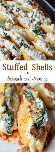 Sausage, Ricotta, and Spinach Stuffed Shells ~ Easy Cheesy... This recipe combines ricotta, mozzarella, and paresean cheeses, and spinach stuffed into the shells. A layer of Italian sausage completes the meal