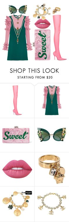 """Pinky Ivy"" by juliaisapunk on Polyvore featuring moda, Balenciaga, Gucci, Edie Parker, Dolce&Gabbana, Lime Crime, Versace e Chanel"