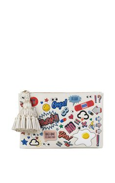 Georgiana Sticker-Print Zip Clutch Bag by Anya Hindmarch at Neiman Marcus. White Leather Handbags, Leather Clutch, Leather Purses, Clutch Bag, Anya Hindmarch Handbags, Tassel Purse, White Handbag, White Purses, Handbags Michael Kors