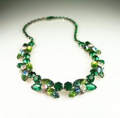 Vintage Necklace Juliana Green Aurora Borealis by zephyrvintage