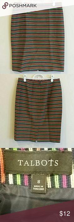 "Talbots size 8 striped skirt EUC 93% cotton 7% nylon multicolor waist 31"" length 22.5"" Talbots Skirts"