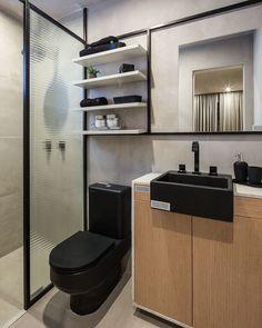 Confira 90 imagens inspiradoras de lavabos e banheiros pequenos e inspire-se. Toilet Room Decor, Small Space Bathroom, Bathroom Design Luxury, Home Office Decor, Home Decor, Home Projects, House Design, Decoration, Instagram