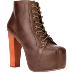 JEFFREY CAMPBELL 'Lita' platform bootie ($170) ❤ liked on Polyvore featuring shoes, boots, ankle booties, heels, sapatos, zapatos, brown heeled booties, brown ankle boots, chunky-heel boots and ankle boots
