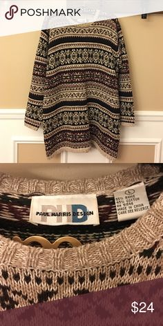 Printed Oversized Knit Tunic Sweater Gorgeous vintage knit tunic Sweater. Long tunic style fit, padded shoulders. Perfect over leggings. In excellent like new condition. 55% ramie, 45% cotton. Women's size L. This sweater really is one of a kind! Paul Harris Design Sweaters Crew & Scoop Necks