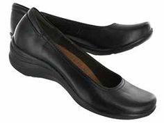 Hush Puppies Womens ALTER POMP black leather wedges