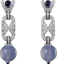 CARTIER MAGICIEN Platinum, chalcedonies, sapphires, black lacquer, diamonds