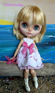 """BLYTHE DOLL Dress - OOAK -  """"Pink Dream"""" romantic vintage broiderie anglaise skirt in pastel pink by LittleLovelieShop on Etsy"""
