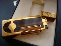 Vintage Gold & Wood Dunhill Lighter from AnastasiasCloset.etsy.com