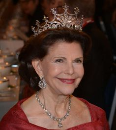 Queen Silvia at the Nobel Prize Banquet 2015 at Concert Hall in Stockholm