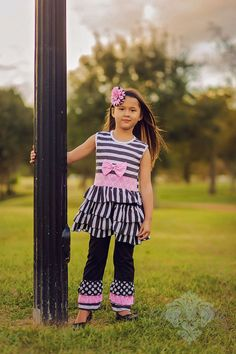 Little Girls Boutique Black and White Stripe Ruffle Tunic and Pant Set- 2pc Baby Girls Clothes Toddler Girl Outfits Baby Winter Clothes by BabyGirlTutus on Etsy