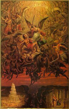 St Michael The Archangel Quis ut Deus Who is like unto God Religious Images, Religious Art, St Michael, Rennaissance Art, Kunst Online, Ange Demon, Biblical Art, Heaven And Hell, Archangel Michael