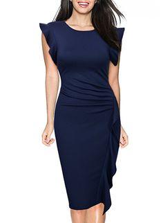 ae4af41e Miusol Women's Retro Ruffles Cap Sleeve Slim Business Pencil Cocktail Dress,Navy  Blue,Medium