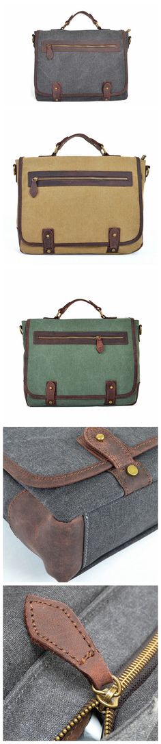 HIGH FASHION CANVAS LEATHER BRIEFCASE WAXED CANVAS MESSENGER SHOULDER BAG