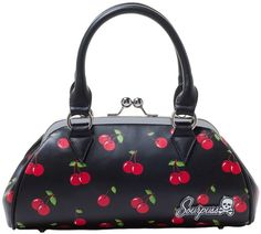 "This retro inspired Cherrylicious vinyl bag features a cherry print, two comfortable straps, Sourpuss logo hardwear, a kiss lock closure and black satin lining. Made by Sourpuss. Measures  6.5"" x 12"""