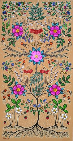 """Christi Belcourt :: """"Little Grandma"""" Based on Tradition, Inspired by Nature.very nice.very very nice. Native American Beadwork, Native American Art, Native American Patterns, Native Indian, Native Art, Flower Images, Flower Art, Woodland Art, Indian Tapestry"""