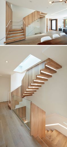 These modern wood stairs are positioned underneath a skylight so that the light filters down the stairwell, bringing in natural light to the space. At night, a built-in light runs the length of the stairs. Luz Natural, Natural Light, Modern Staircase, Staircase Design, Staircase Ideas, New Modern House, Stair Lighting, Wood Stairs, New Home Designs
