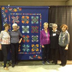 Quilt Guild by the Sea 2016 Donation Quilt exhibited in Orlando, the 5 of us who worked on it, Jan 2016.