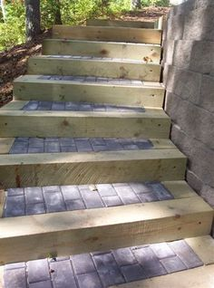 wooden walkway downhill with lights - Google Search