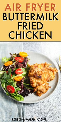 This Easy Air Fryer Fried Chicken recipe can also be made easily in the oven or stovetop. Southern Fried Chicken is healthier than traditional deep-fried chicken and is soooo much better than fast food or restaurants. Chicken thighs are soaked in buttermilk for tender juicy yet crispy Southern Buttermilk chicken. Click through to get the best Air Fryer Chicken recipe!! #airfryer #airfryerrecipes #buttermilkchicken #friedchicken #airfryerfriedchickenrecipe #southernrecipe #southernchicken Easy Potluck Recipes, Air Fryer Dinner Recipes, Air Fryer Recipes, Easy Meals, Healthy Recipes, Family Recipes, Meat Recipes, Air Fryer Fried Chicken, Fried Chicken Recipes