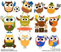 Exercise owl Digital clip art for Personal and Commercial use - INSTANT DOWNLOAD