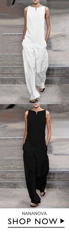 Pockets Solid Sleeveless Holiday Jumpsuits SHOP NOW 31 25 Pockets Solid Sleeveless Holiday Jumpsu Belted Shirt Dress, Tee Dress, Mode Outfits, Fashion Outfits, Overalls Fashion, Fashion Jumpsuits, Womens Fashion, Vestidos Fashion, Looks Style