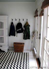 super cute cottage and vine: The Sunroom Entry Black White Bathrooms, Entry Foyer, Home Reno, Cool Rooms, Home Hacks, House Rooms, Floor Rugs, My Dream Home, Decoration