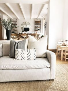 Cream Living Rooms, Home Living Room, Living Room Decor, Cream And Black Living Room, Neutral Living Rooms, Tan Sofa, Living Room Pillows, Sofa Pillows, Sofa Pillow Covers