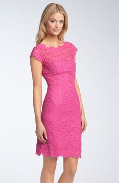 Pink lace bridesmaid dresses