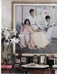 Gloria Vanderbilt home  Portrait - with Anderson and Carter, her sons