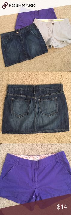 Bundle! jean skirt & 3 pairs of shorts all size 4 Old Navy Jean Skirt size 4. Super cute in like new condition. Purple J. Crew Chino shorts size 4. Small spot on front bottom. Not very noticeable when being worn. (See picture). Kanki Old Navy size 4 shorts. Great condition. Khaki J. Crew shorts size 4. Cute with buttons 2 buttons on each side but one side missing a button. ( see picture ) J. Crew Shorts